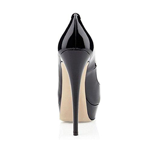 Miuincy Womens Tacco Alto Peep Toe Piattaforma Stiletto Slip On Scarpe Vestito Pompa Per La Festa Di Nozze Nero