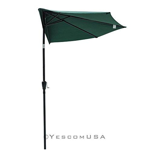 Yescom 10Ft Green Outdoor Patio Half Umbrella Cafe Wall Balcony Door 5 Ribs Tilt Aluminum Sun Shade (Half Umbrella)