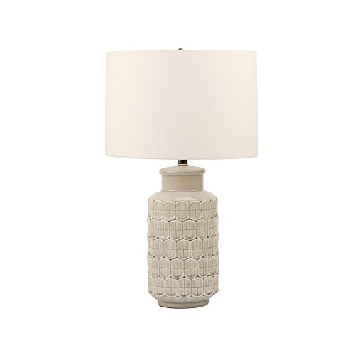 White Ceramic Table Lamp with Texure, Modern Farmhouse Lamps for Living Room with Linen Fabric Shade, 25'' Height, E26 Meium Bulb Base by Eurus Home
