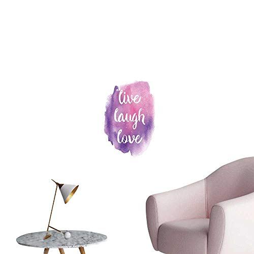 Alexandear Live Laugh Love Art Decor 3D Wall Mural Wallpaper Stickers Watercolor Ombre Inspired Paint Splash Background with Motivational Quote Removable Kitchen Purple Rose W24 x H36 ()