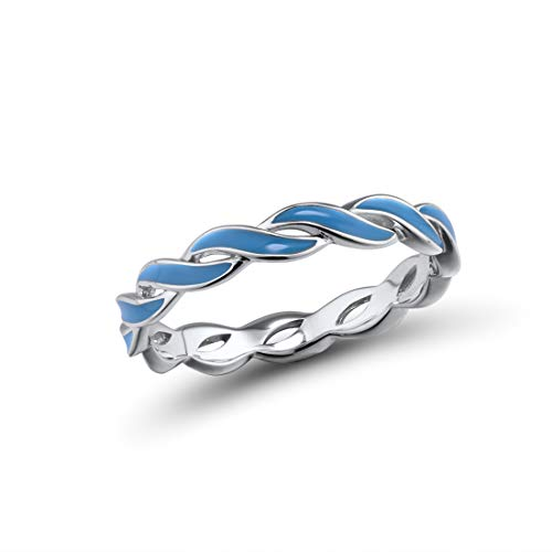 Santuzza 925 Sterling Silver Ring Handmade Enamel Colorful Twisted Stackable Rings Eternity Rings (Blue, 7) ()