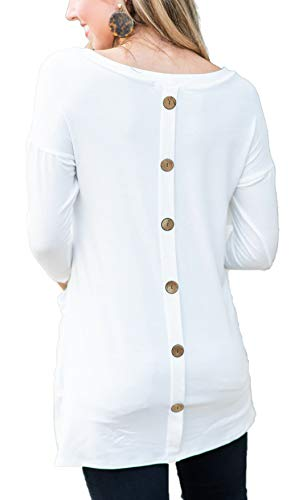 Crewneck 3/4 Tee Sleeve (iGENJUN Women's Back Button 3/4 Sleeve Casual Crew Neck Loose T Shirt Tunic Tops with Pockets,White,S)