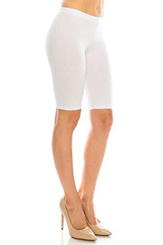 Tights Cotton Running - C&C Style Women's Stretch Jersey Bike Yoga Running Workout Bermuda Shorts Tights Pants Under Short Leggings S to 3XL Plus (Large, White)