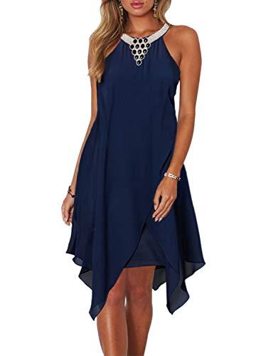 Dokotoo Womens Fashion Ladies Summer Overlay Embellished Halter Neck Chiffon Solid Sleeveless Ruffle Casual Mini Dress Navy Blue Medium