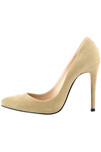 Azbro Zapatos Tacón Alto Estiletes Pu Sólido Punta-Estrecha Beige