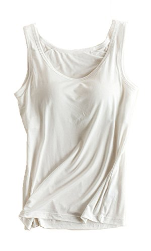 Foxexy Womens Modal Built-in Bra Padded Active Strap Camisole Tanks Tops White US 10-12