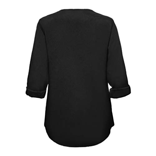 Automne en T Blouse Dcontract Solides Poches Col Femmes Shirts V Noir Manches MuSheng Tops Longues 5qY1nw