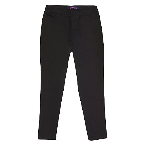 French Toast Little Girls' Skinny Pull on Twill Pant, Black, ()