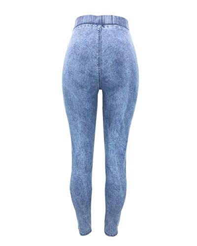 Unique Hellblau Pantaloni V Biker Denim Donna Push Up Da Destroyed Jeans Stlie Boyfriend FzHqn