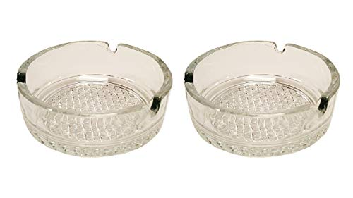 (Set of 2 Epure Decorative Glass Ashtrays! Beautifully Patterned Thick Glass - 4