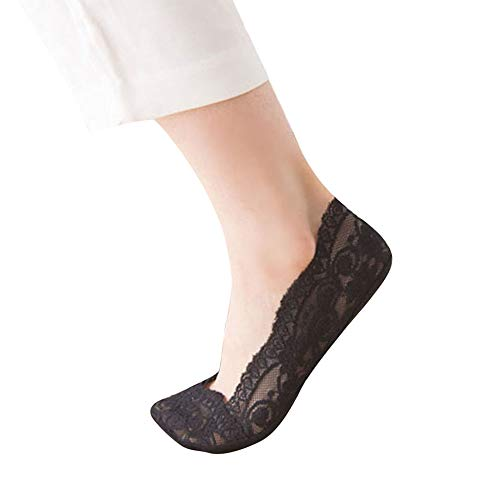 Fashion Womens Cotton Blend Lace Antiskid Invisible Low Cut Socks Toe Ankle Sock (Womens Ultra Tall Sand)