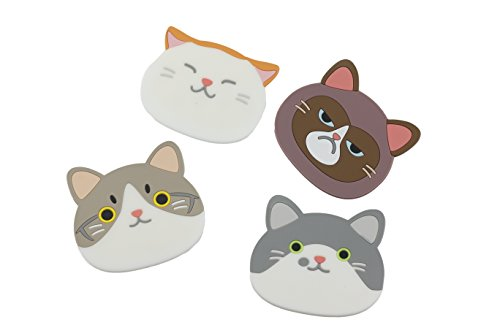 Excelity Set of 4 Cute Kitty Silicone Coaster , Cup Glass Beverage Holder Pad Mat