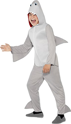 Smiffy's Children's Unisex All In One Shark Costume, Jumpsuit with Hood and Fins, Party Animals, Ages 7-9, Size: Medium, Color: Grey, (M Party Costumes)