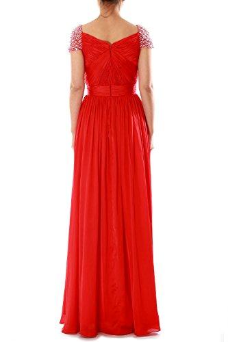 MACloth Women Cap Sleeves Long Ball Gown Evening Formal Prom Dress Wedding Party Morado
