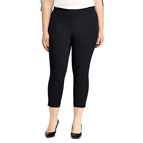 LAUREN RALPH LAUREN Womens Plus Stretch Twill Skinny Crop Pants (Black, 14W)