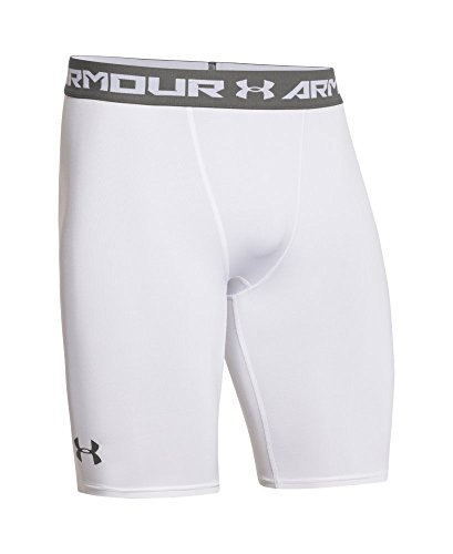 Under Armour Men's HeatGear Armour Compression Shorts – Long, White (100)/Graphite, Large by Under Armour (Image #3)
