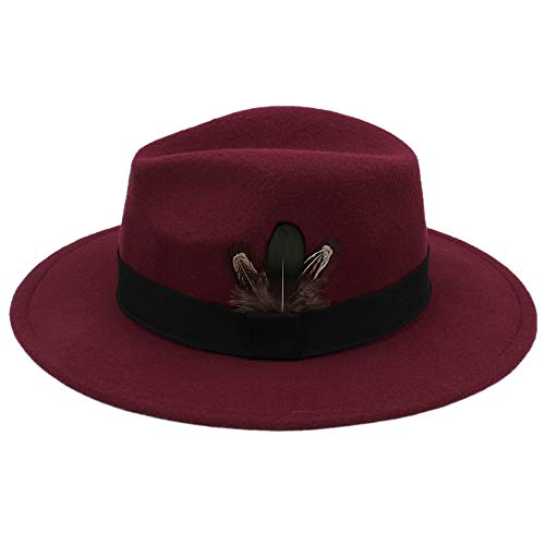 CP & YR Autumn Winter Women Fedora hat Sombrero Hairy Headscarf Wool Cap Sunshade Boys Hats. (Color : Wine red, Size : ()