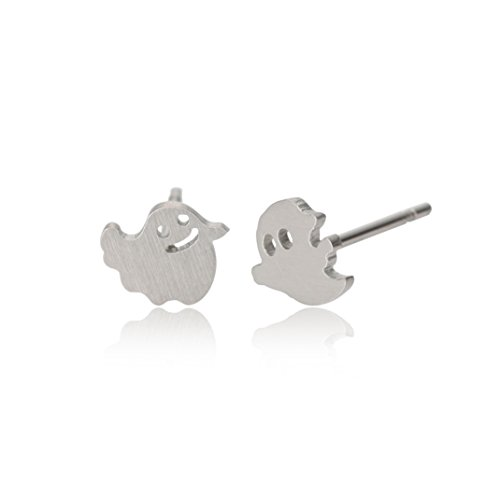HUAN XUN Ghost Specter Stud Tiny Earrings - Rock and Roll Jewelry Silver]()