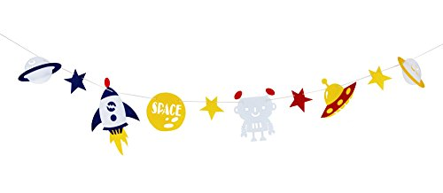 Happy Birthday Zoo Ballet Football Soccer Tropical Hawaiian Theme Banner Party Hanging Decoration (Space Ship Theme)