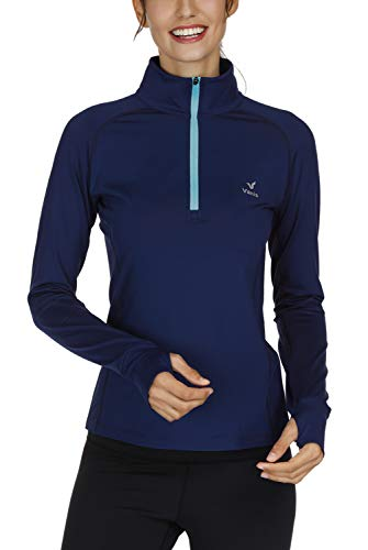 Vanis Women's Workout Yoga Track Jacket Long Sleeve Running Shirt 1/2 Zip Pullover (Blue, Large) ()