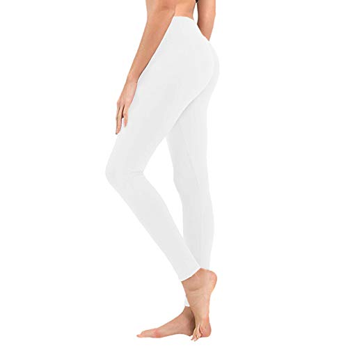 (High Waisted Leggings for Women - Opaque Slim Tummy Control Pants for Yoga Workout Running (1 Pack White, One Size (US 2-12)))
