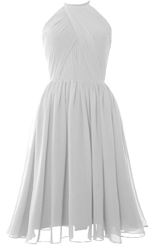 Short Cocktail Bridesmaid Back Weiß Open Gown Women Dress MACloth Halter Chiffon with 6XtBqA