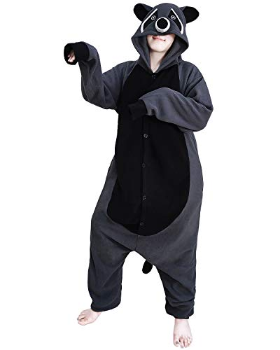 Funnyparty Animal Raccoon Pajamas Costume Unisex Adult Cosplay Jumpsuit Grey -