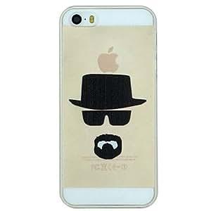 YULIN gafas de cabeza y caso de la contraportada barba patrón duro de la PC transparente para el iphone 5 / 5s