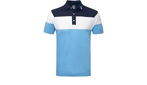 Footjoy Raglan Chest Stripe Pique Shirt Polo, Hombre, Azul (Azul ...