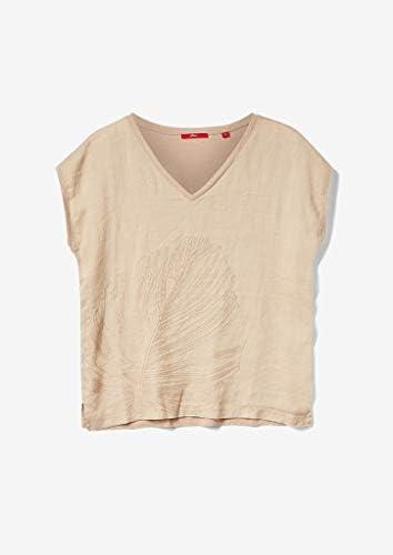 s.Oliver damska haftowana koszulka z lnianym frontem: s.Oliver: Odzież