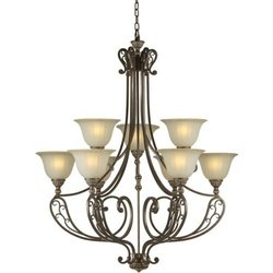 Forte Lighting 2509-09-27 Transitional 9-Light Chandelier, Black Cherry Finish with Shaded Umber Glass