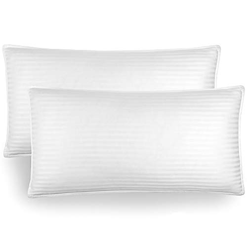 Bare Home Luxury Plush Down Alternative Pillows - Fiber Fill - Hypoallergenic - Striped & Soft 100% Cotton Cover - King, 20 x 36 - 2-Pack