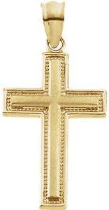 23.75X15.50 MM Inlay Cross 14k Yellow Gold Pendant