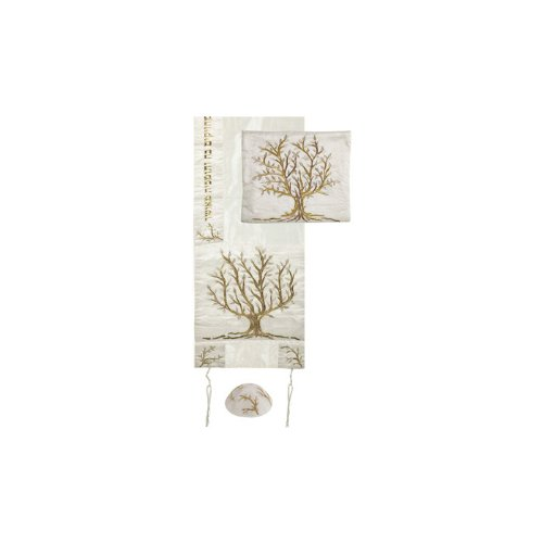 Tallit Bar - Gold and Silver Tree of Life Raw Silk Yair Emanuel Tallit with Matching Bag and Kippa