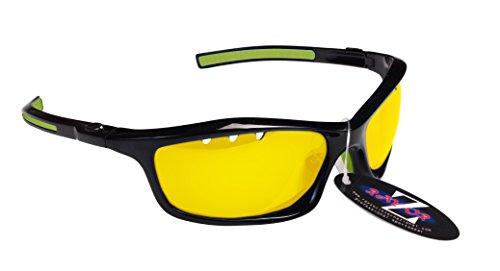RayZor Professional Lunettes de soleil de sport Noir UV400voile, ultra léger avec un système anti-goutte Filtres lumière jaune transparent anti-reflet Objectif