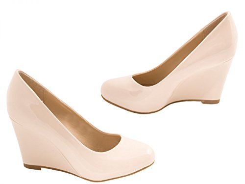 Talon Vernis Escarpins Elara Compense Femmes Beige Chaussures EWRaqS
