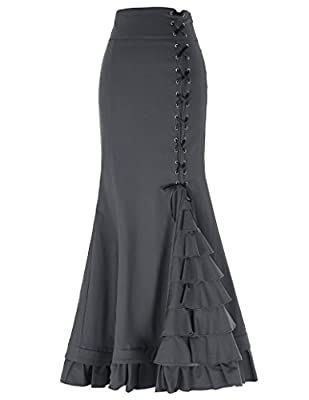 Belle Poque Women's Victorian Steampunk Ruffled Fishtail Mermaid Skirt BP203