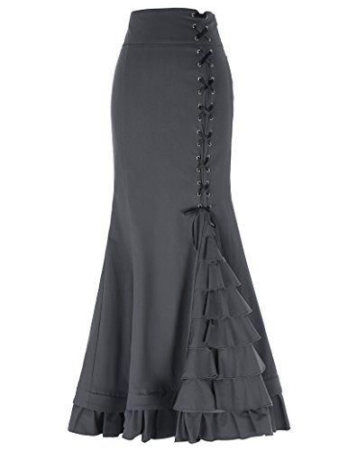 Belle Poque Women Victorian Steampunk Ruffled Skirt for Wedding Party Size M Dark Grey BP203-2