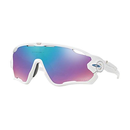 Oakley Men's OO9290 Jawbreaker Shield Sunglasses, Polished White/Prizm Snow Sapphire, 31 ()