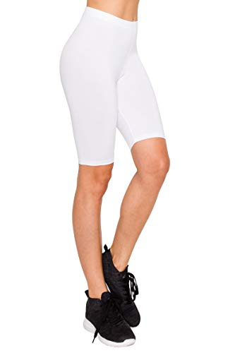 (EttelLut Athletic Spandex Volleyball Booty Shorts-Yoga Running Biker Gym Sport Workout White L )