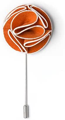 Orange Piped Flower Orange Velvet Lapel Pin