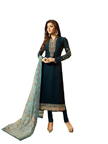 (Delisa Designer Wedding Partywear Silk Embroidered Salwar Kameez Indian Dress Ready to Wear Salwar Suit Pakistani LTN (Blue, X-SMALL-36))