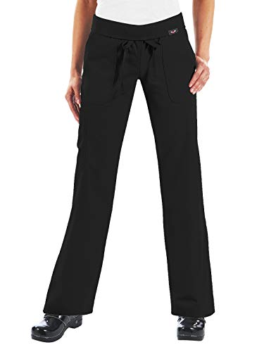 - KOI Women's Morgan Ultra Comfy Yoga-Style Cargo Scrub Pants with Rib-Knit Waist, Black, Large