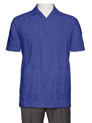 Gentlemens Collection Embroidered Guayabera Shirts for Men - guayaberas para Hombres French Blue - Shirt Embroidered Jacket