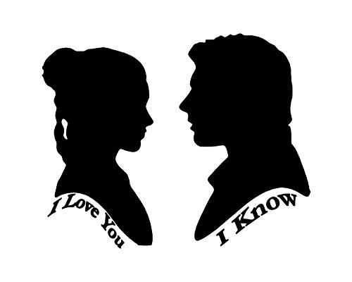 HVD- Star Wars laptop decal displaying Princess Leia and Han Solo silhouettes with the iconic movie quote I Love You,I Know ()