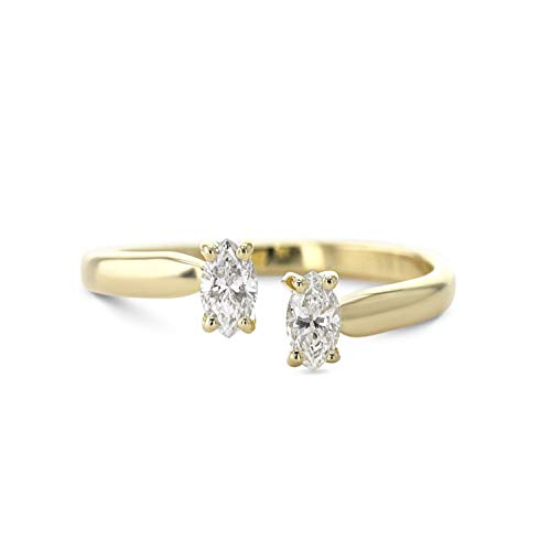 2 Stones Engagement Ring - Unique Style with 0.36 Carat - 14K Yellow Gold ()