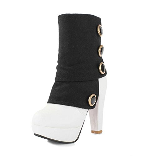 Shoes Up Women Heel Autumn Heel Elegant Winter Short Lace Color Platform HETAO Boots Fashion Sexy Boots High White Western Personality Fight Ankle Temperament Heels EqB6Ba7
