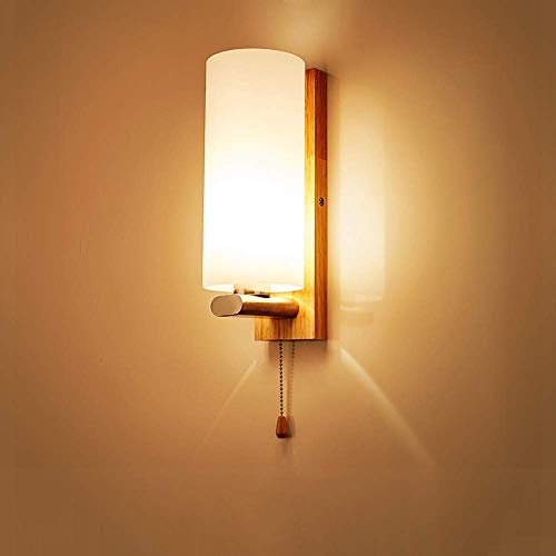 Wsxxn Creative Solid Wood Warm Wall lamp, Nordic Modern Wooden Wall Lamp Sconce with Pull Switch, Frosted Glass Shade Wood Bedside Night Light for Home Living Room Corridor Aisle ()