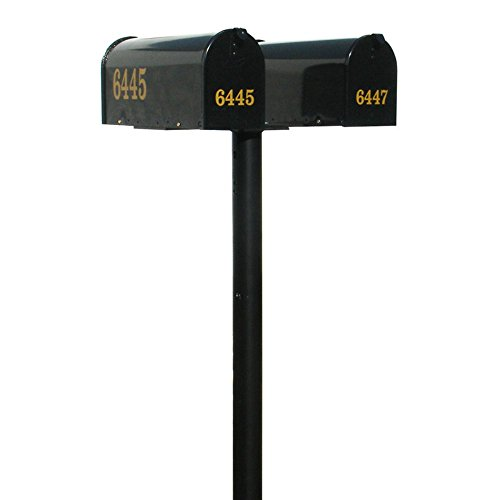 The Hanford Cast Aluminum Twin Mailbox Post System with 2 E1 Mailboxes and Mounting Bracket, Ships in 2 boxes
