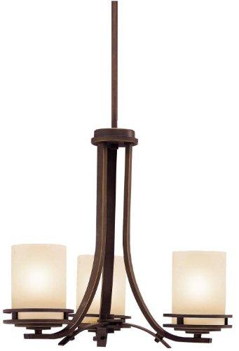Kichler 1671OZ Chandelier 3-Light, Olde Bronze Arts & Crafts Bronze Chandelier